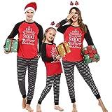 Hawiton Pijamas de Navidad Familia Conjunto de Pijamas de Hombre Mujer Niño Niña Invierno Manga Larga Algodón Ropa de Dormir