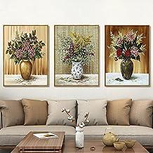 Wj Simple Clásico de Color Floral Pintado Fondo Sofá de Fondo con el Cuadro Triple Pared