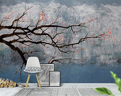BZDHWWH Innendekorationen Murals 3D Wallpaper Handgemalte Plum Blossom Ink Landschaft Hintergrund Wandmalerei,240cm (H) x 360cm (W) -