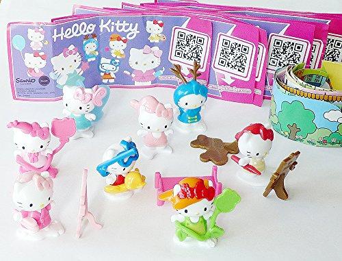 Kinder Überraschung, Komplettsatz Hello Kitty alle 8 Figuren und 8 neutrale BPZ Hello Kitty Figuren