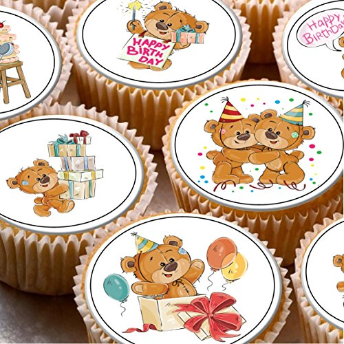 Print4you 24 topper per torta 4 cm in pasta di zucchero cupcake immagini – carino Happy Birthday Teddy Bears 1st 2 nd 3rd Birthday