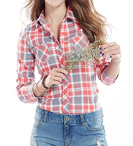 Damen Checked Flanell Shirt Hemd Slim Fit Langarm Bluse Beil?ufige Oberseite (2XL EU38 Rosa) (Flanell Tartan Plaid)