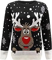 ZEE FASHION Pull Fantaisie Noël Femme tricoté Rudolph Le Renne