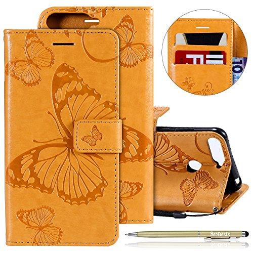 Herbests Leder Handy Schutzhülle für Huawei Honor 7A Lederhülle Schmetterling Muster Leder Handyhülle Handytasche Brieftasche Ledertasche Bookstyle Flip Case Cover Klapphülle,Gelb