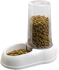 Ferplast Wasser- und Futterspender Azimut Multifunktionaler Spender mit transparentem Nachfülltank / Farbe: Weiß