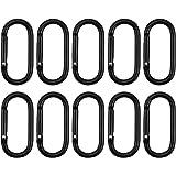 wangjiangda Karabijnhaak Clip 10 Stks Zwart Ovaal Aluminium Lente Snap Haak voor Outdoor Activiteit, Camping, Vissen, Wandele
