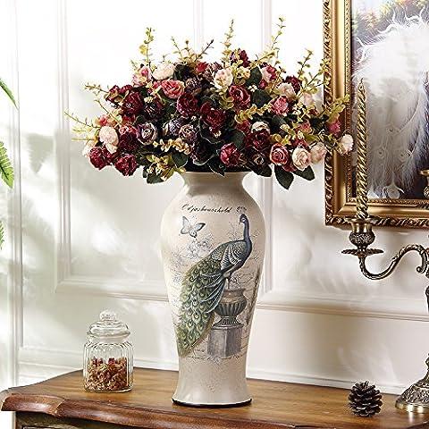 Estilo Euro Plug-jarrones modernos creativos floreros secos salón amueblado en decoración cerámica americana de flores grandes jarrones +6 Flores