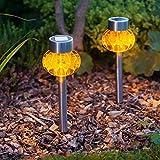 Conjunto de 2 lámparas solares de LED naranja para jardín o interiores con estaca desmontable de Lights4fun