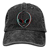 EJjheadband Adult Fashion Cotton Denim Baseball Cap Trippy Alien Classic Dad Hat Adjustable Plain Cap