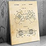Playstation PS1 Controller Leinwanddruck Retro Gamer-Geschenk DualShock, Controller Schematic, Playstation Classic 12' x 16' Vintage Paper