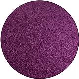 Shaggy Teppich Eco rund - Farbe wählbar | versandkostenfrei schadstoffgeprüft pflegeleicht antistatisch schmutzresistent robust strapazierfähig Wohnzimmer Kinderzimmer Schlafzimmer Küche Flur , Farbe:Brombeere, Größe:150 cm rund