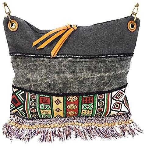 Damen Handtasche Tasche Ethno-Style Vintage Canvas Shopper Schultertasche Black