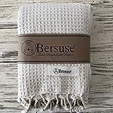 Bersuse 100% Baumwolle - Waffle XL Überwurf Decke Türkisches Handtuch - Mehrzweck Bett- oder Sofa-Überwurf, Tagesdecke, Tischdecke oder als Picknickdecke - Badestrand Fouta Peshtemal - Auf Handwebstuhl Pestemal - 155 X 210 cm, Weiß