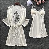 Damen Robe Set Lace Sleep Freizeithose Pijama Langarm Damen Pyjama Bademantel Nachthemd mit Brustpolster 2 L