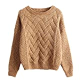 Qitun Damen Sweater Warm Langarm Pulli Pullover Knit Pulli Strickpullover Tops Orange