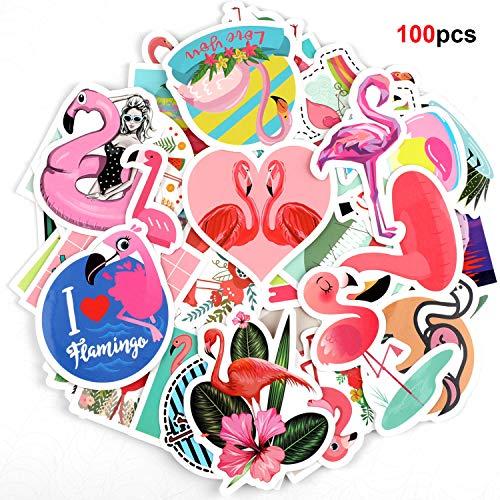Howaf 100pz Fenicottero Tropicali Vinile Graffiti Adesivi Sticker Decals Pack Impermeabile per Pc Computer Moto Bicicletta Laptop Automobili Auto Skateboard Bagagli Valigia Bici Motociclette Casco