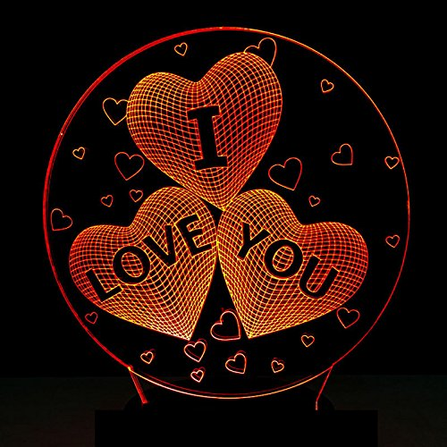 SQL 3D Touch Remote Control Acrylic Colorful LED Night Light Valentine's Day Gifts (Remote Control Wall Plate)