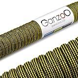 Paracord 550 Seil, 31 Meter, für Armband, Knüpfen von Hundeleine oder Hunde-Halsband zum selber machen / Seil mit 4mm Stärke / Mehrzweck-Seil / Survival-Seil / Parachute Cord belastbar bis 250kg (550lbs), Farbe: gelb, schwarz, Marke Ganzoo