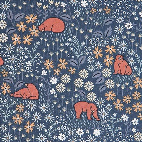 Timeless Treasures Tissu en Coton Bleu-Gris foncé avec des Ours et des Fleurs