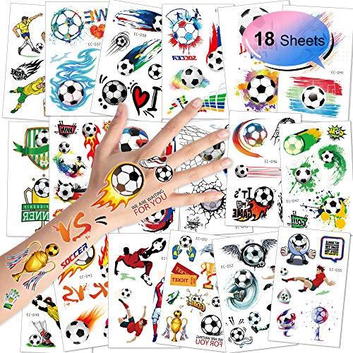 Konsait Fußball Tattoos Kinder, Temporäre Tattoos Kinder Aufkleber Sticker für Junge Kindergeburtstag Mitgebsel Fußball Party, 18 Blatt (Tattoos Temporäre Kinder)