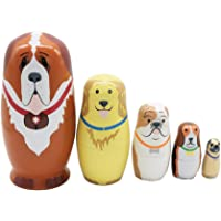 ULTNICE Russian Nesting Dolls Matryoshka Wood Puppy Dog Stacking Toy Doll 5pcs