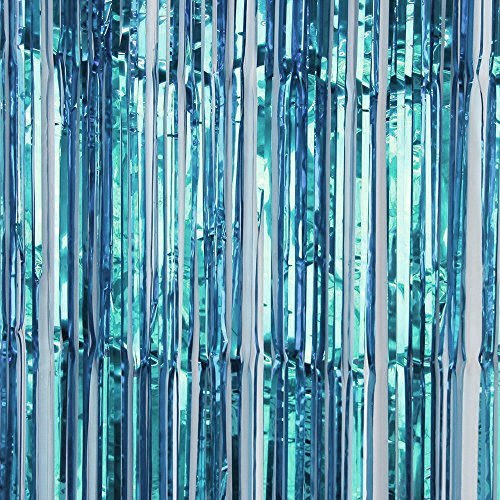 Baby Blue FINE CUT Metallic Foil Shimmer Door Curtains - Finer Cut Curtains for more Shimmer !