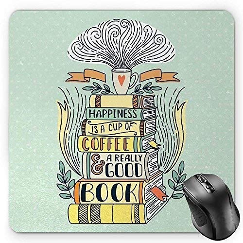 Book Mouse Pad, Quote for Happiness Being Related to a Book Printed in Cartoon Style on a Set of Books Gaming Mousepad Office Mouse Mat Multicolor - Benutzerdefinierte Leder-set
