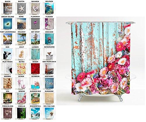 Duschvorhang, viele schöne Duschvorhänge zur Auswahl, hochwertige Qualität, inkl. 12 Ringe, wasserdicht, Anti-Schimmel-Effekt (180 x 200 cm, Spring)