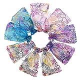 Semoic Farbmischung Coralline Organza Geschenktüten, Hochzeit Gunsten Party Schmuck Sü?igkeiten Beutel, 13 x 18 cm, Packung Mit 100