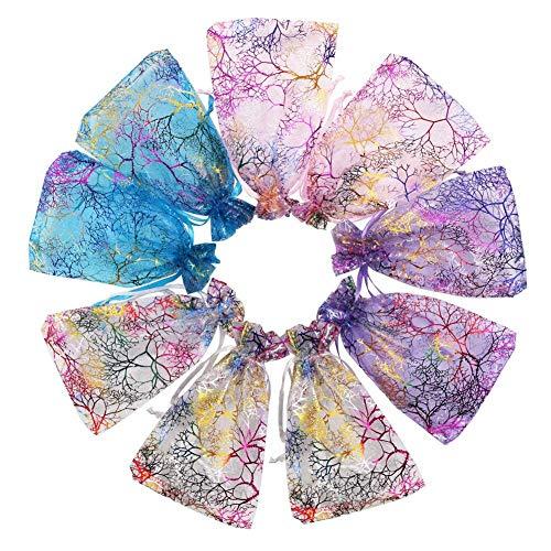 Anjing Organza-Beutel, gemischte Farben, Korallenmuster, für Hochzeit, Party, Geschenk, Schmuck, Beutel für Weihnachten, Babyparty, 100 Stück