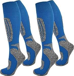 2 Paar Ski-Socken für Damen und Herren Farbe Grau-Blau Größe 35/38