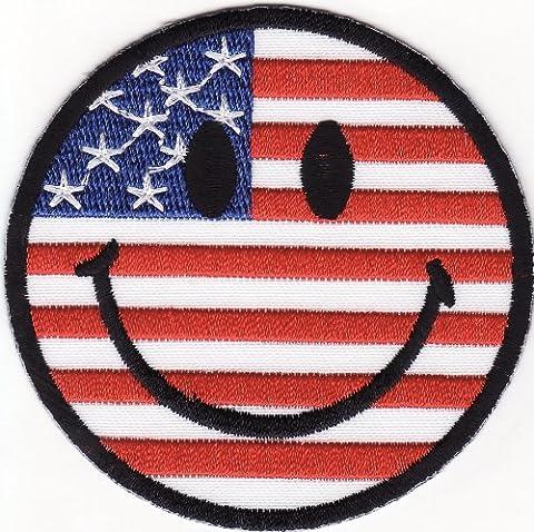Amérique Drapeau Smiley USA Flag Patch '' 7,5 x 7,5 cm '' - Écusson brodé Ecussons Imprimés Ecussons Thermocollants Broderie Sur Vetement Ecusson Drapeaux