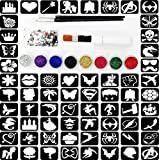 Glitter Tattoo Kit 25 – (Complete Kit ) Princess And Super Hero Theme 88 Large Stencils 3 Brushes 8 Glitter 100 Gems 10ml Glue