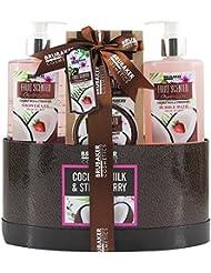 BRUBAKER Cosmetics Bade- und Dusch Set Kokosnuss und Erdbeer Duft - 5-teiliges Geschenkset in Geschenkbox