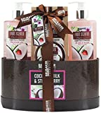 "BRUBAKER Cosmetics Bade- und Dusch Set ""Coconut Milk & Strawberry"" - Kokosnuss und Erdbeer Duft - 5-teiliges Geschenkset in Geschenkbox"