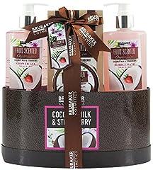 Idea Regalo - BRUBAKER Cosmetics set beauty da bagno e doccia 'Latte di cocco e fragola' - Confezione regalo in 5 pezzi presentati in un cestino
