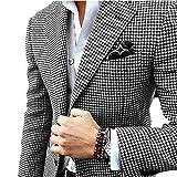 YSMO Herren Anzüge Slim Fit Checkered Schwarz Anzug 2 Stück Blazer Jacke und Hose