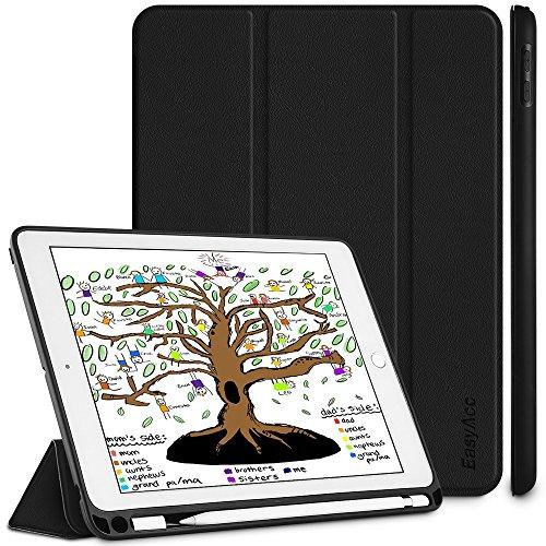 EasyAcc Hülle für iPad 2018 Hülle mit Pencil Halter - Ultra Dünn Ständer Schutzhülle Weiches Rückgehäuse Case mit Auto Schlaf/Wach Funktion Kompatibel für iPad 2018 2017 9.7 Zoll, Schwarz