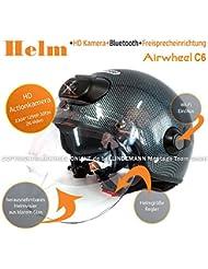 AIRWHEEL C6 Casco de la motocicleta / Casco de cara abierta Mujeres / Hombres Casco de la cabeza con cámara HD, Bluetooth, Auriculares, Intercomunicador. Tamaño L 59 - 60 cm