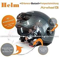 AIRWHEEL C6Casco de esquí/Moto Casco con visera y parasol para hombre/mujer, color negro. Casco con cámara HD, WiFi, Bluetooth, auriculares, manos libres. Tamaño M 57–58cm
