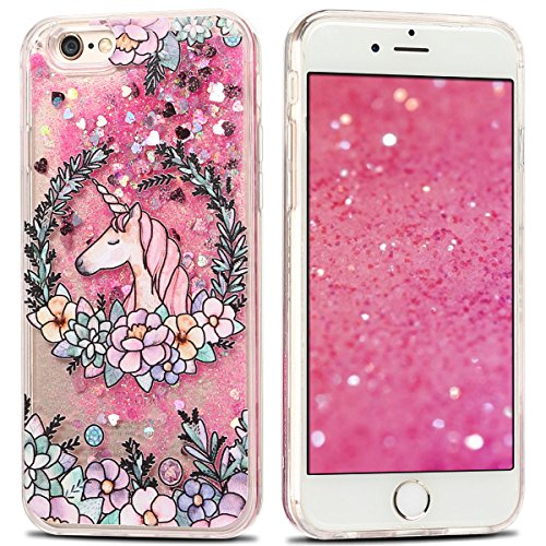 Coque iPhone 6 Plus , Etui Housse iPhone 6 Plus Liquide Sables Mouvants Case Cover Bling Glitter Étoile Paillettes Fleur et Licorne Motif pour iPhone 6 Plus ( 5.5 pouces) Etui Bumper Transparent Dual  Fleur Rose