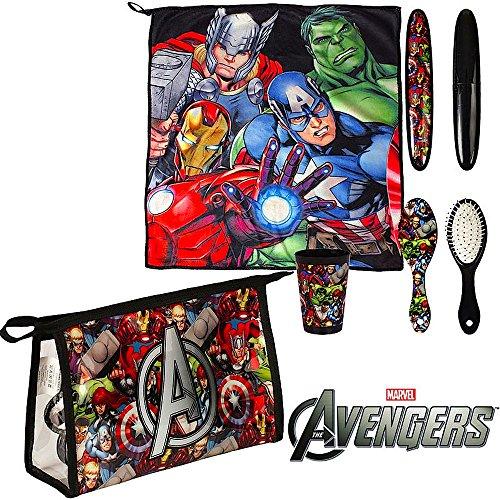 5 tlg. Set AVENGERS - Kulturtasche / Kosmetik-Tasche - Motiv: Iron Man, Hulk, Thor + 16 AVENGERS Aufkleber - Kulturbeutel