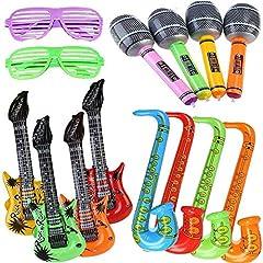 Idea Regalo - Yojoloin 14PCS Gonfiabili Chitarra Sassofono Microfono Occhiali Palloncini Strumenti musicali Accessori per feste Forniture per feste Palloncini Colore casuale (14 pezzi)
