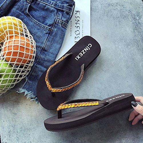 ZHANGRONG-- Pantofole donna estate moda indossare antiscivolo con suole spesse scarpe da spiaggia in pendenza con sandali a cartella ( Colore : B , dimensioni : 36 ) B