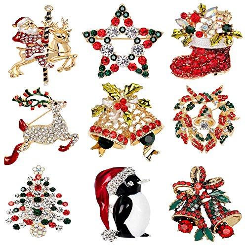 9 Stück Frauen Weihnachten Brosche Kristall Brosche Für Pullover Schal Bekleidungs Schmuck Weihnachten Dekor