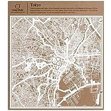 Tokyo Carta taglio mappa bianco 30x30 centimetri carta arte