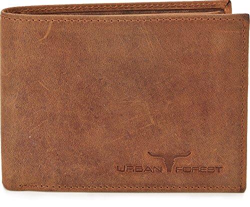 Lederbörse Portemonnaie Geldbörse Brieftasche Geldbeutel im Querformat aus hochwertigem Leder mit Veredelung in Farben Schwarz Braun Cognac von URBAN FOREST, Farbe:Cognac