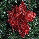 LQZ 10stk Weihnachtsstern Künstlich Christstern Weihnachtsblumen Weihnachtsbaumdeko - Rot