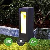 LED Außenleuchte Jenke (spritzwassergeschützt) (Modern) in Schwarz aus Aluminium (1 flammig, A+, inkl. Leuchtmittel) von Lampenwelt | Wegeleuchte, Pollerleuchte, Wegelampe, Sockelleuchte