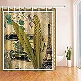 cdhbh Druck Art Decor Eiffelturm Alten KFZ Vorhang für die Dusche in Badewanne 180,3x 180,3cm Polyester-Schimmelresistent-Badezimmer Fantastische Dekorationen Bad Vorhänge Haken im Lieferumfang enthalten